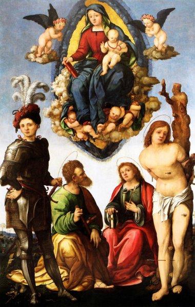 Aspertini Amico, madonna e santi, 1508-9c, mus naz Villa Guinigi lucca