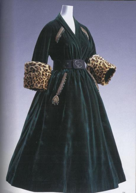 C.Dior, black velvet new Look robe manteaux, 1947,p.c.