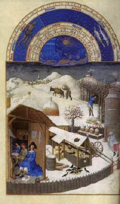 Limbourg brothers, month of February, Les tre Riches Heures du Duc du Berry, 1412