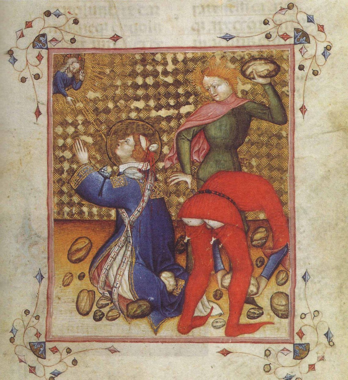 Martydom of St Stephen, illuminated manuscript, 1380c, Bibliotheque Nationale de France