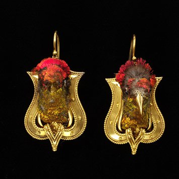 Emanuel Harry of London, gold earings with bird heads, 1865c, V&A