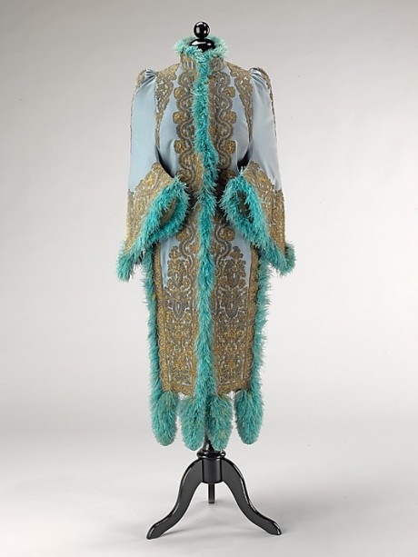 Emile Pingat Paris,evening mantle, wool silk metal and feathers, 1891c, Met NY