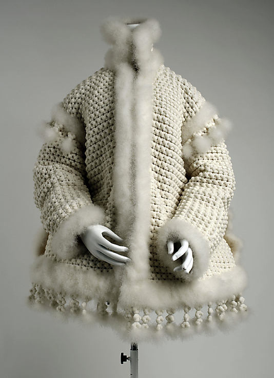 latvian feather short coat made of feathers, poss swan down, 1860c, met NY