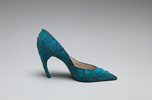 Roger vivier for Dior, feather covered shoe,  1960c,Met NY
