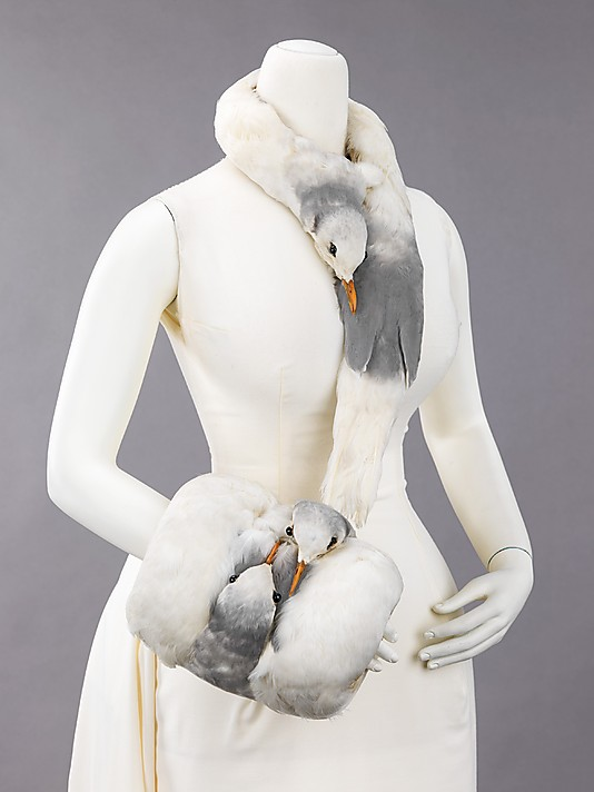 scarf and muff of sea-gull feathers, 1880-99,MET NY