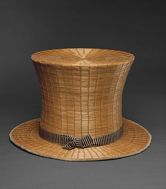 top hat, raffia and silk, french Mellin, Poitiers, 1820c, met ny