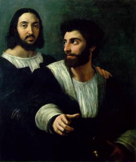 Raffaello, autoritratto con un amico,1518-19,Louvre