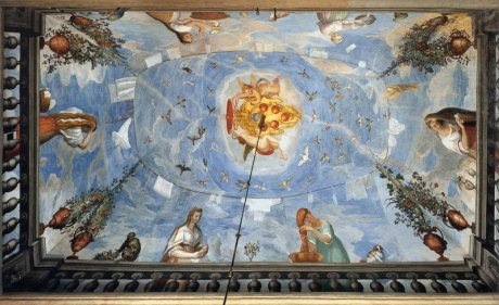 A.Allori,affresco,donne al balcone che lavano i capelli, 1589, loggetta di Palazzo Pitti FI