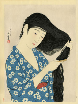 Goyo_Hashiguchi-No_Series-Woman_Combing_her_Hair-00034149-110225-F12