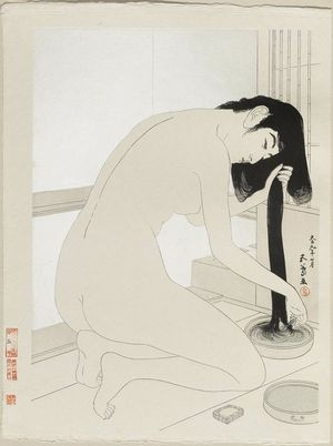 Hashiguchi Goyo, woman washing her hair, 1920, MFA Boston