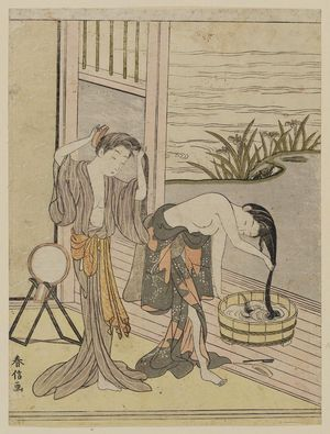 Suzuki Harunobu, two women washing their hair, 1767-68, MFA boston