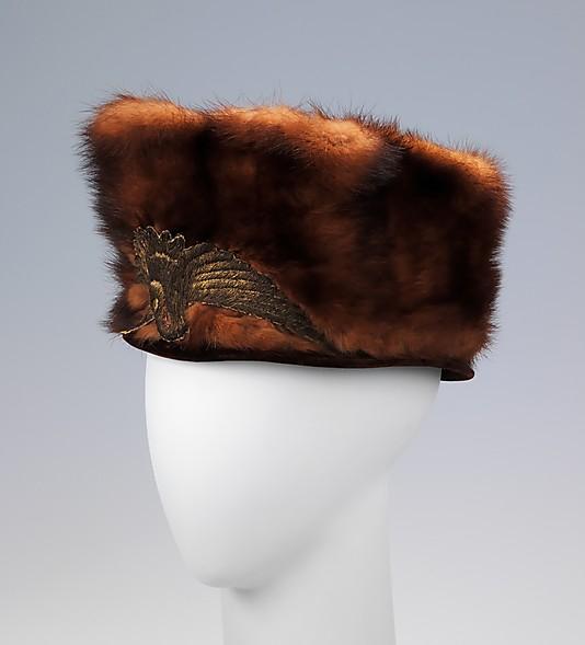toque, fur, 1912-18, met ny