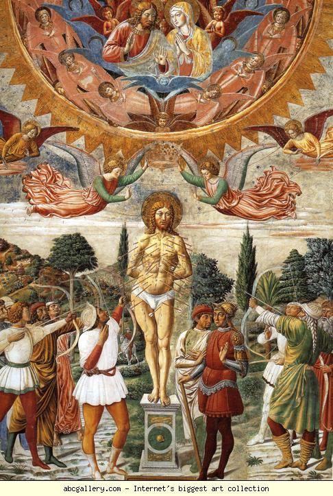 Benozzo Gozzoli,affreschi S.Agostino, S.Sebastiano1464-5,S.Giminiano