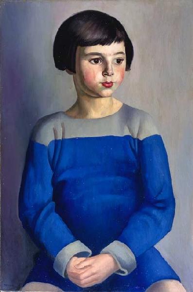 Bernard Meninsky,child in blue,1918,pc