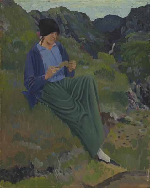 Derwent Lees,girl in black hat,1912,NGVictoria