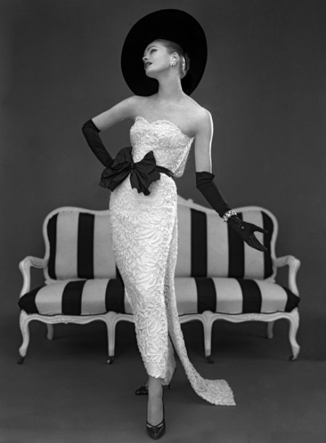 John French, Susan Abraham in John Cavanagh lace evening dress, spring 1957