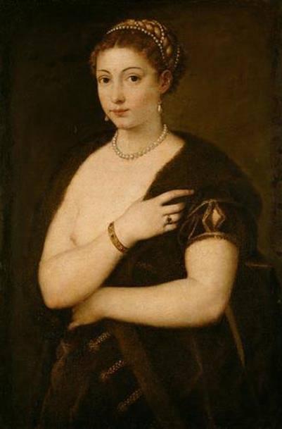Tiziano, ragazza con soprabito pelliccia,1535,KM Vienna